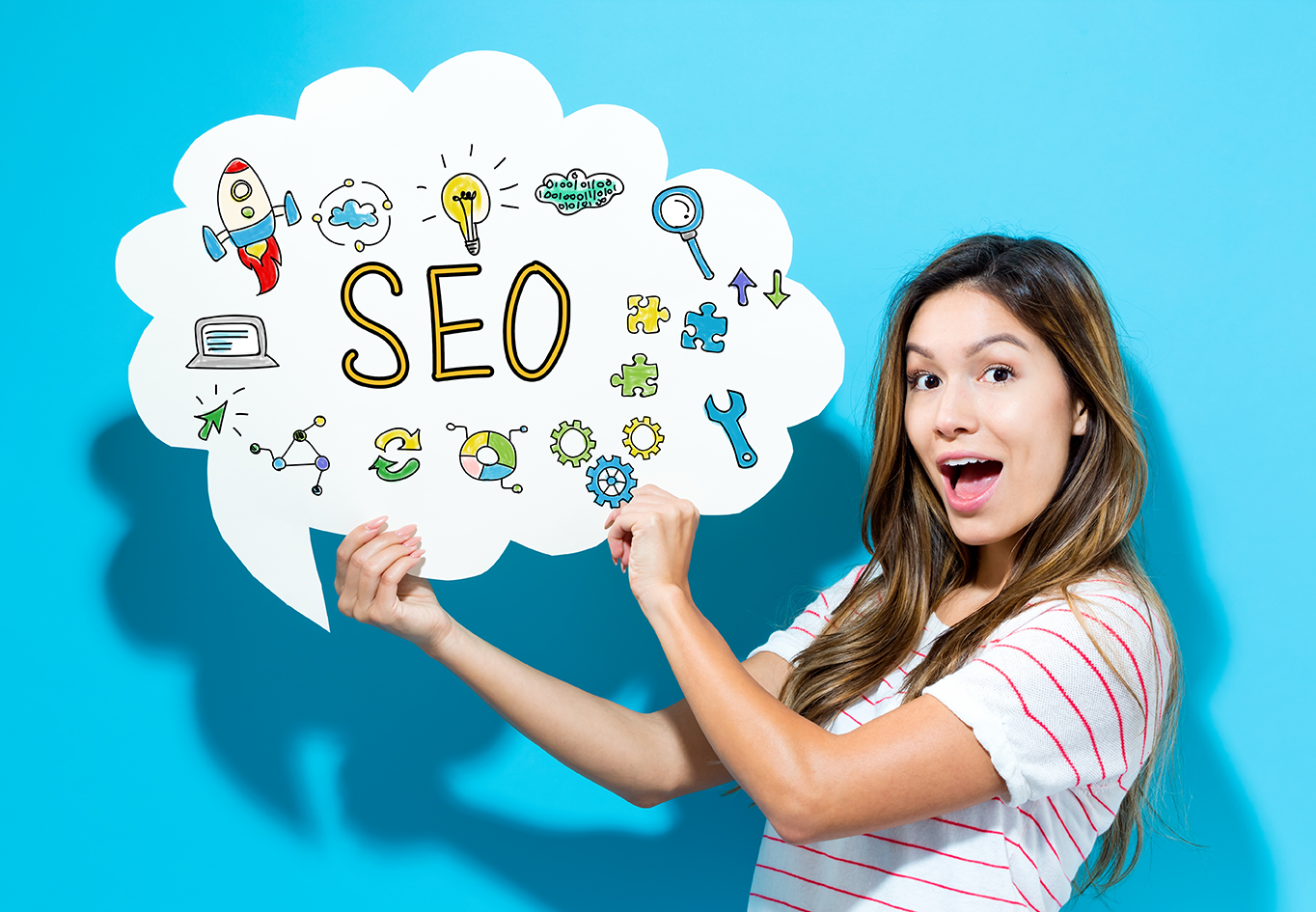Woman with SEO ranking banner