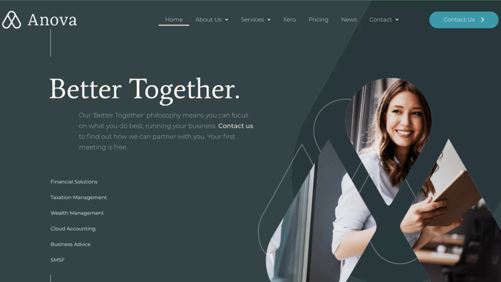 website design portfolio Anova Accountants