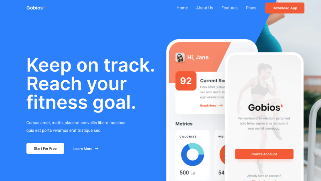 website design for a fitness app