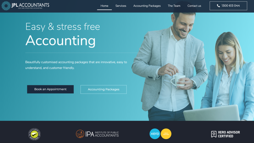 website design portfolio jpl accountants