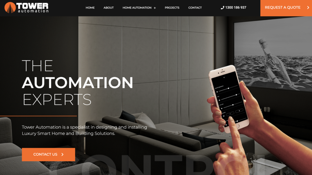website design portfolio tower automation